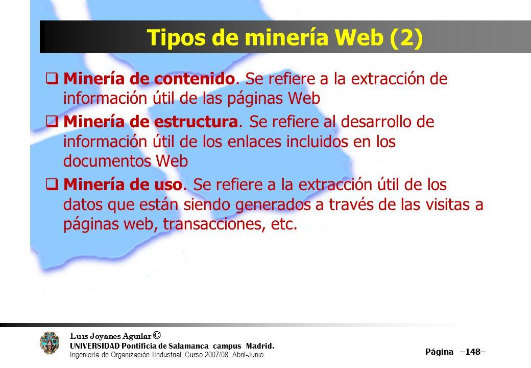 Tipos de minería Web (2) Minería de contenido. Se refiere a la extracción de información útil de las páginas Web.