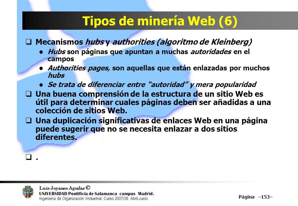 Tipos de minería Web (6) Mecanismos hubs y authorities (algoritmo de Kleinberg) Hubs son páginas que apuntan a muchas autoridades en el campos.