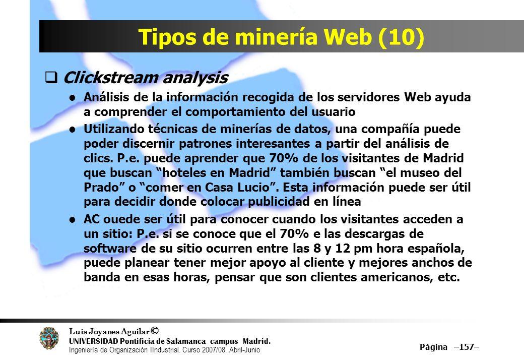 Tipos de minería Web (10) Clickstream analysis