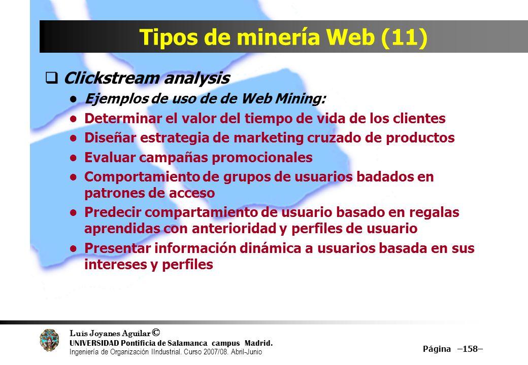 Tipos de minería Web (11) Clickstream analysis