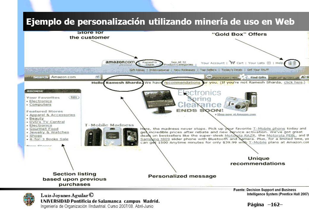 Ejemplo de personalización utilizando minería de uso en Web