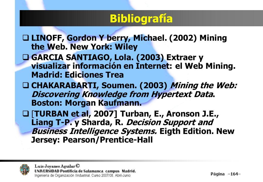 Bibliografía LINOFF, Gordon Y berry, Michael. (2002) Mining the Web. New York: Wiley.