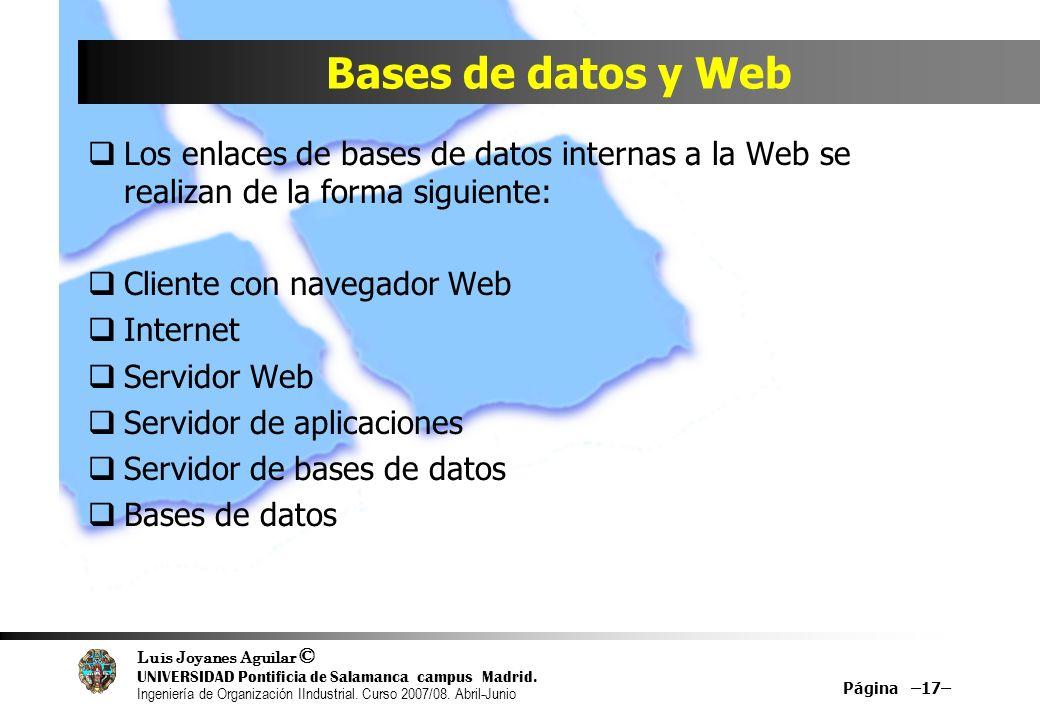 Bases de datos y Web Los enlaces de bases de datos internas a la Web se realizan de la forma siguiente: