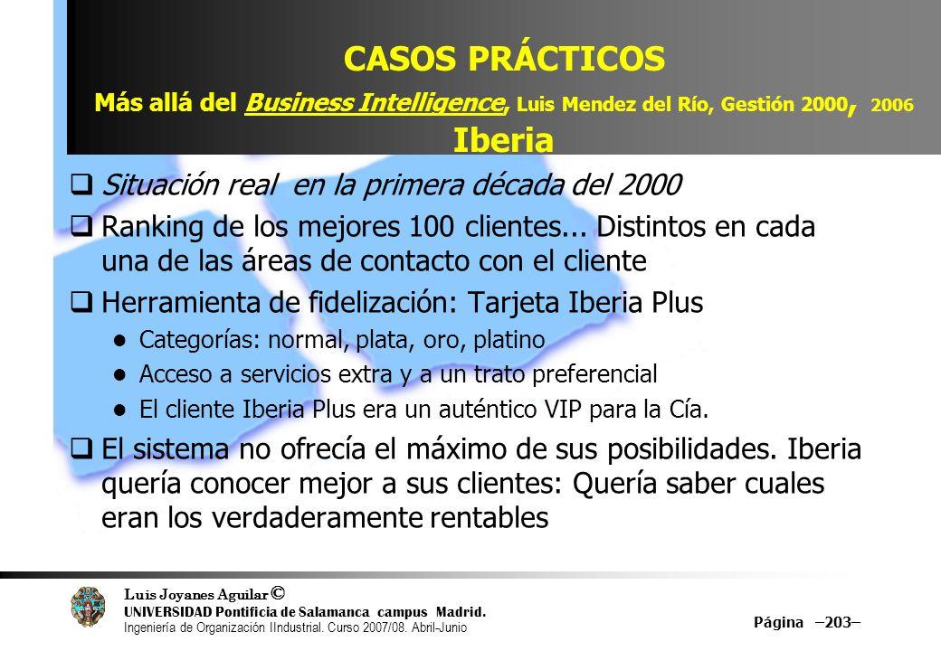 CASOS PRÁCTICOS Más allá del Business Intelligence, Luis Mendez del Río, Gestión 2000, 2006 Iberia