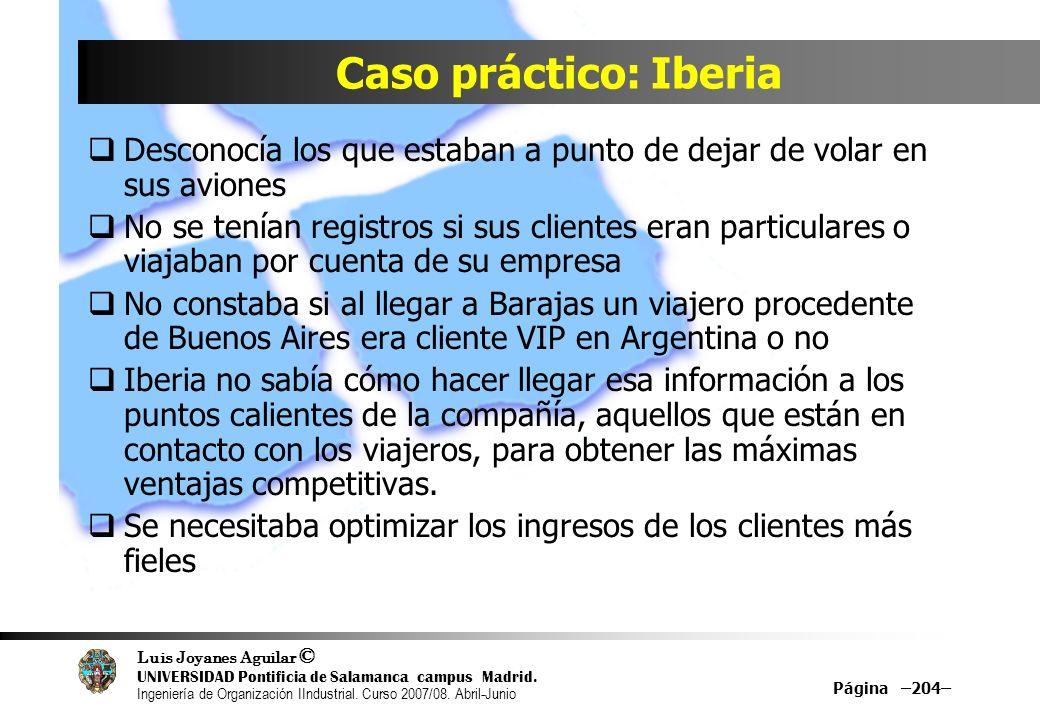 Caso práctico: Iberia Desconocía los que estaban a punto de dejar de volar en sus aviones.