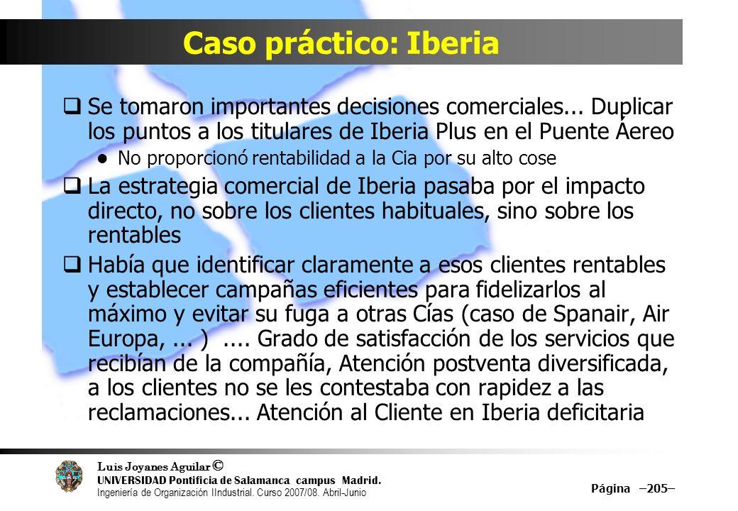 Caso práctico: IberiaSe tomaron importantes decisiones comerciales... Duplicar los puntos a los titulares de Iberia Plus en el Puente Áereo.