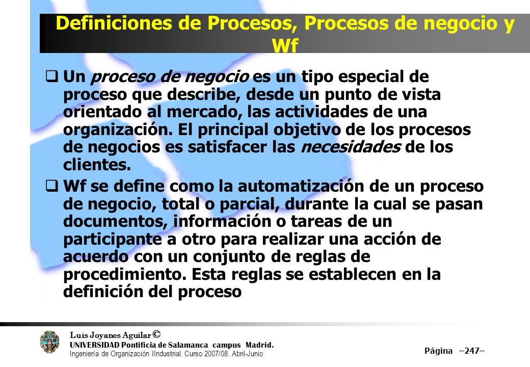 Definiciones de Procesos, Procesos de negocio y Wf
