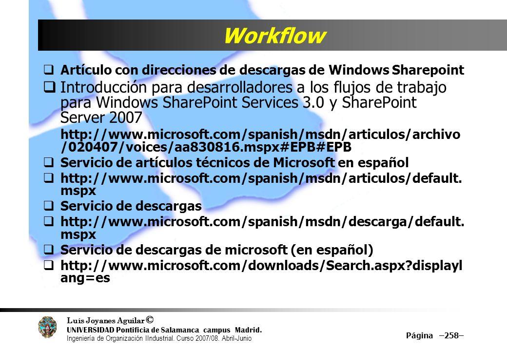 Workflow Artículo con direcciones de descargas de Windows Sharepoint.