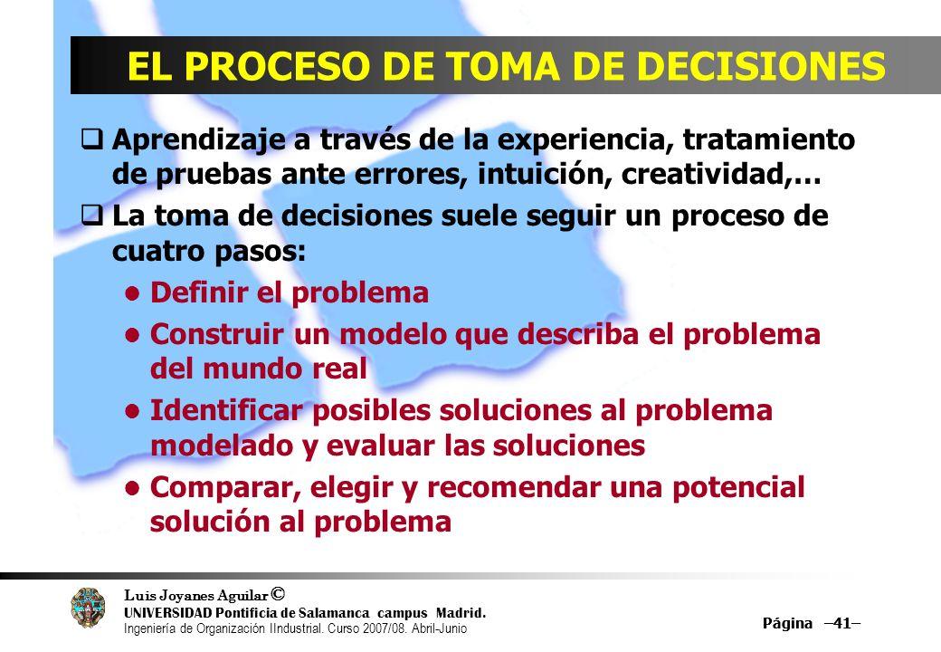 EL PROCESO DE TOMA DE DECISIONES