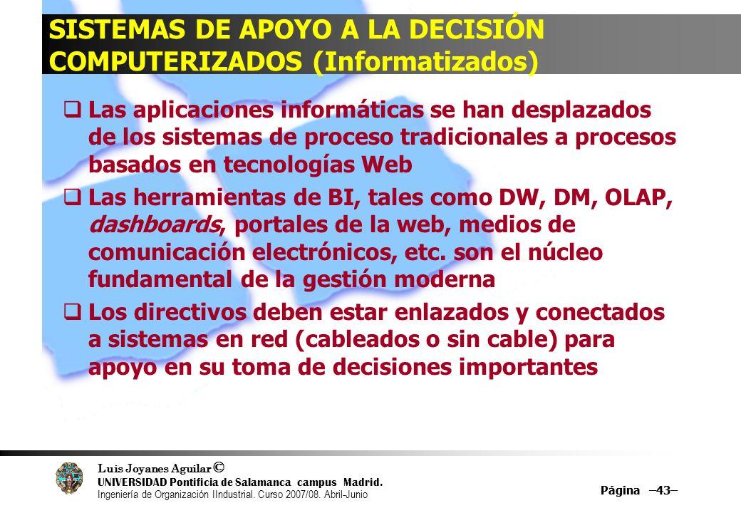 SISTEMAS DE APOYO A LA DECISIÓN COMPUTERIZADOS (Informatizados)