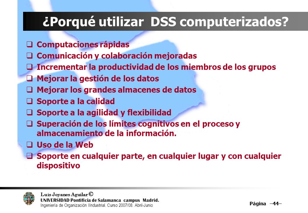 ¿Porqué utilizar DSS computerizados