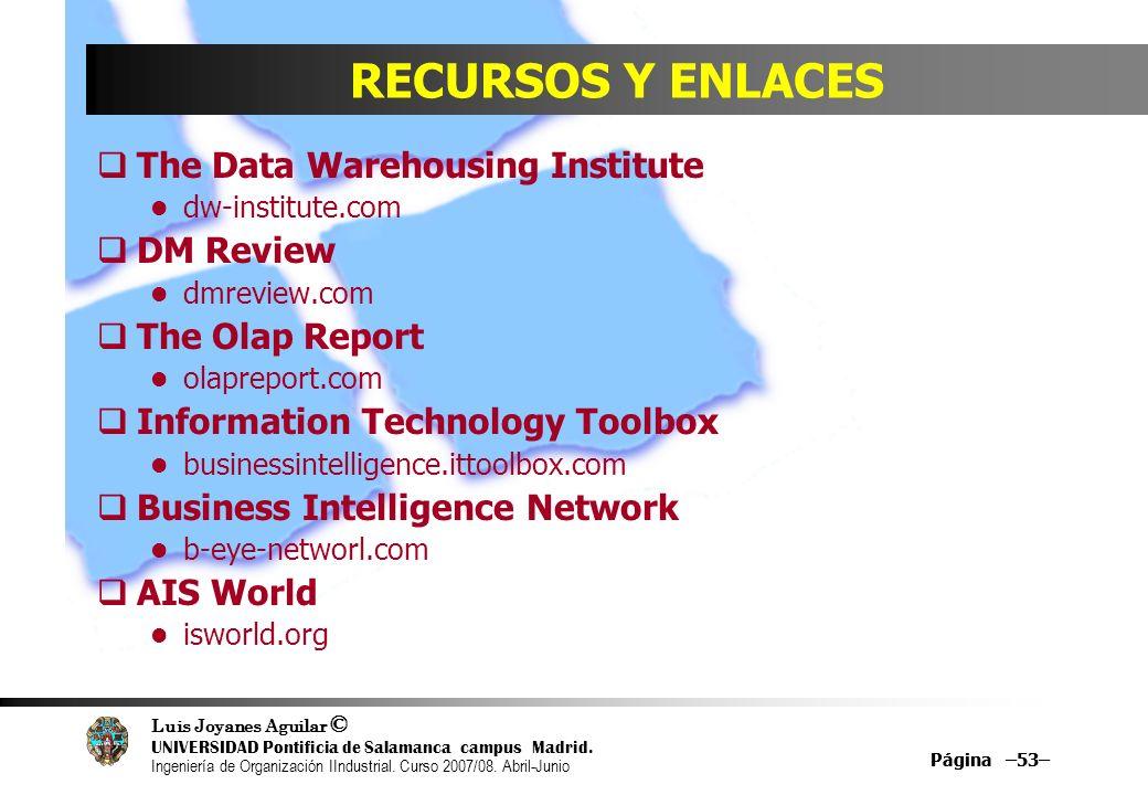 RECURSOS Y ENLACES The Data Warehousing Institute DM Review