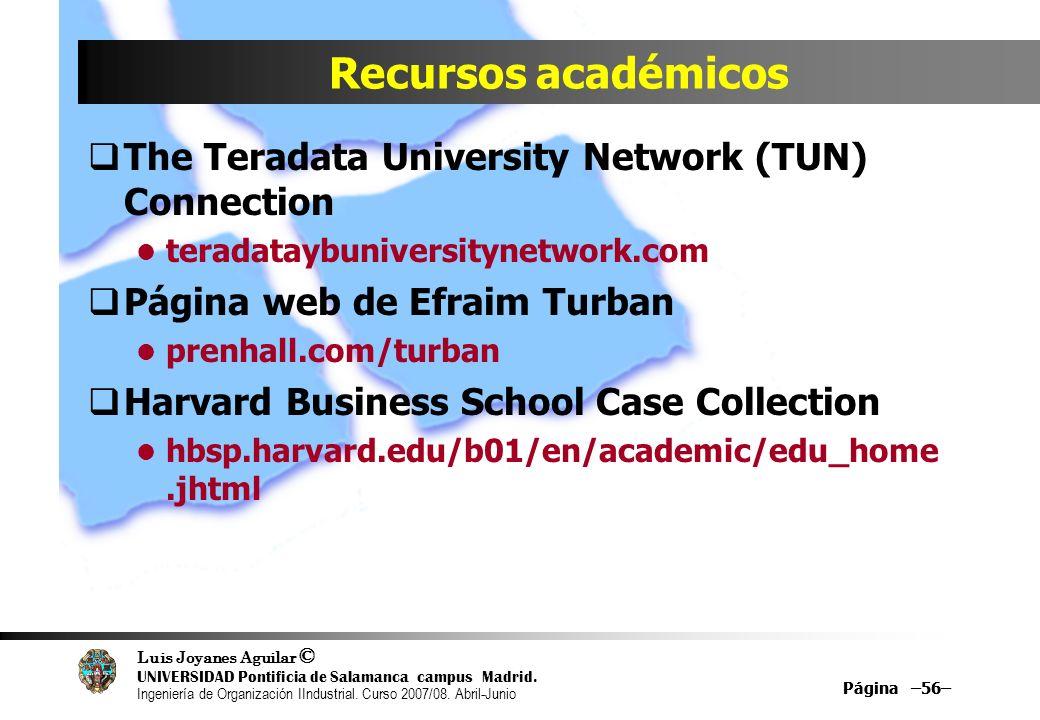 Recursos académicos The Teradata University Network (TUN) Connection