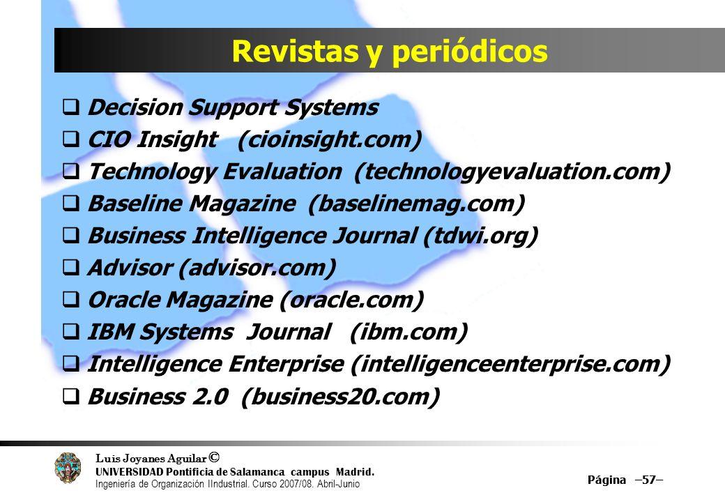 Revistas y periódicos Decision Support Systems