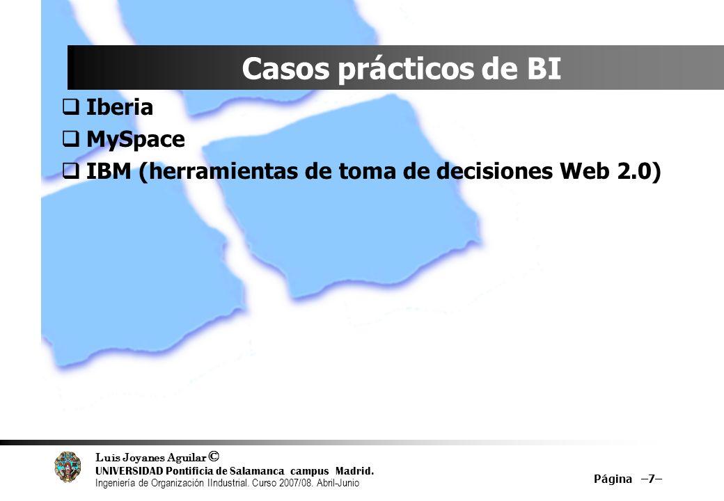 Casos prácticos de BI Iberia MySpace