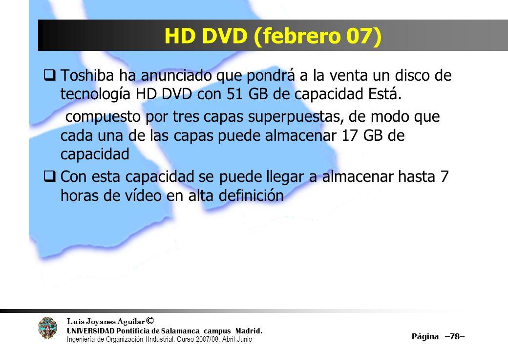 HD DVD (febrero 07)Toshiba ha anunciado que pondrá a la venta un disco de tecnología HD DVD con 51 GB de capacidad Está.