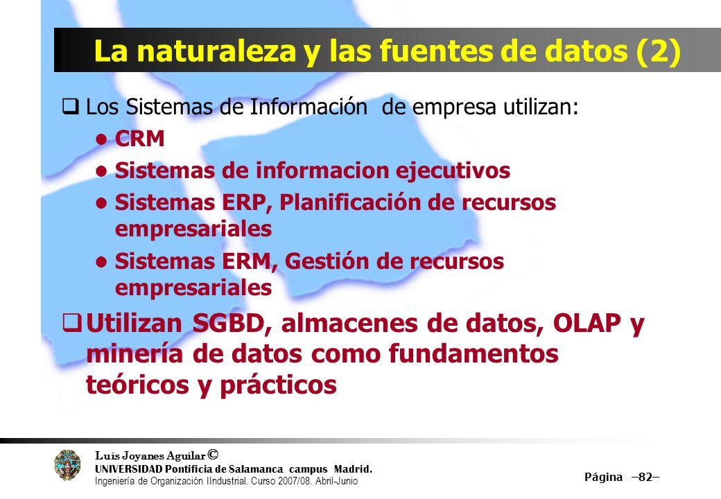 La naturaleza y las fuentes de datos (2)