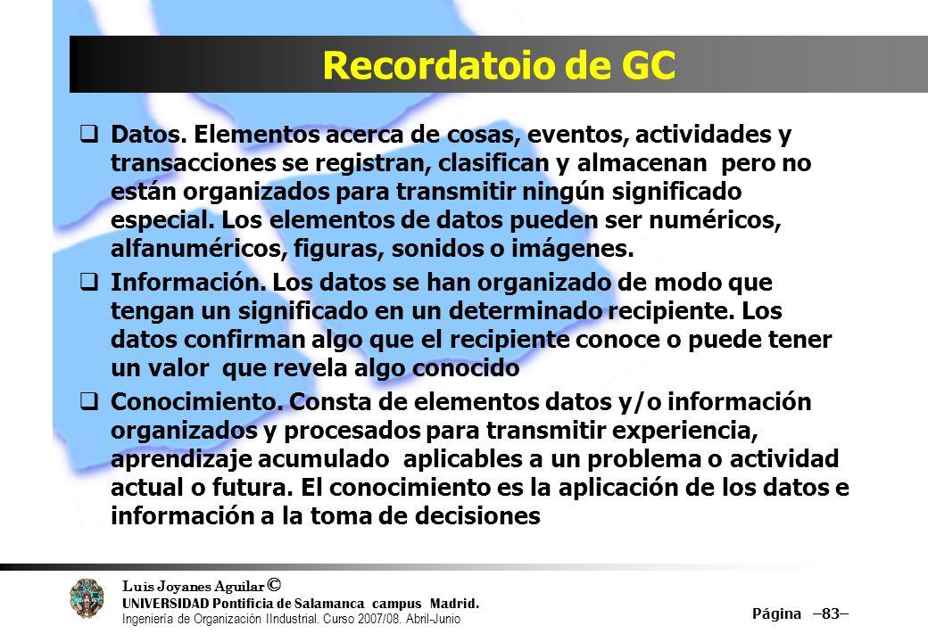 Recordatoio de GC