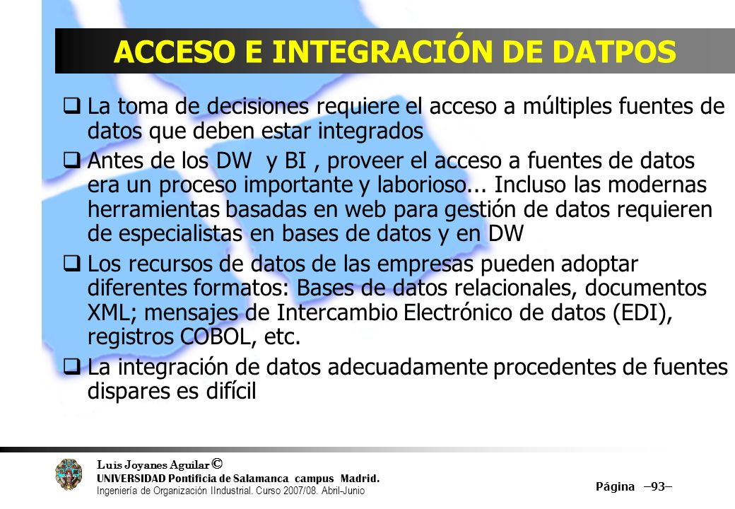ACCESO E INTEGRACIÓN DE DATPOS