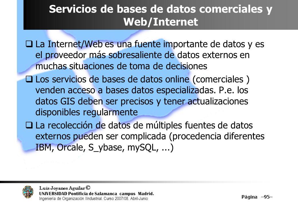 Servicios de bases de datos comerciales y Web/Internet