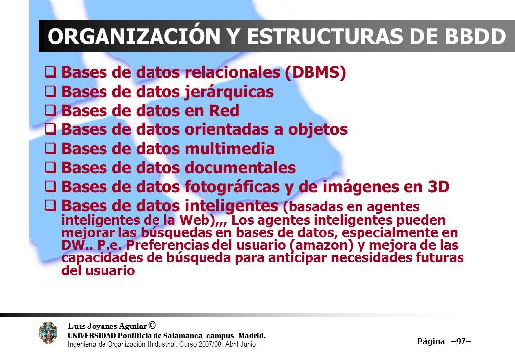 ORGANIZACIÓN Y ESTRUCTURAS DE BBDD