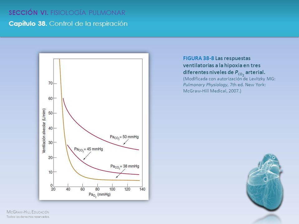 FIGURA 38-8 Las respuestas ventilatorias a la hipoxia en tres diferentes niveles de PCO2 arterial.