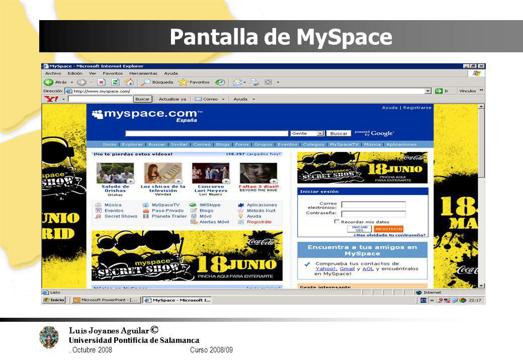Pantalla de MySpace
