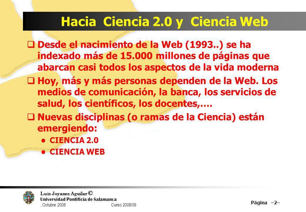 Hacia Ciencia 2.0 y Ciencia Web