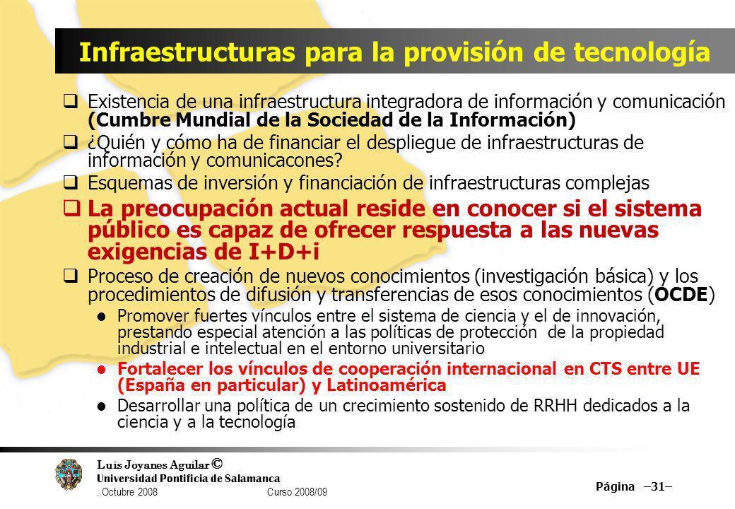 Infraestructuras para la provisión de tecnología