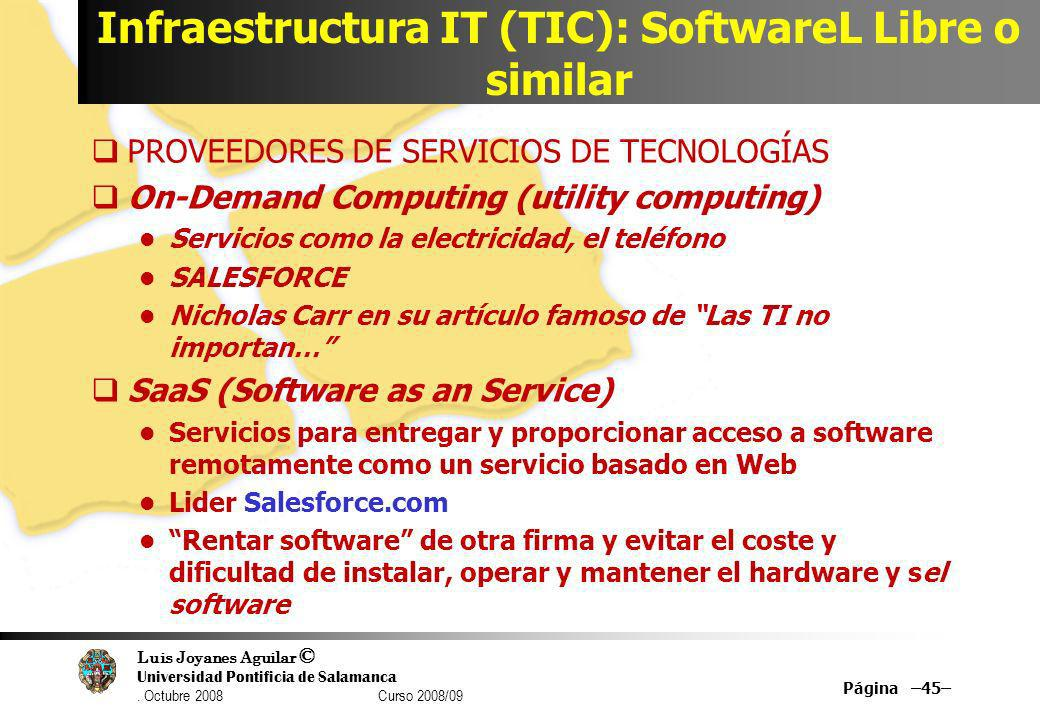 Infraestructura IT (TIC): SoftwareL Libre o similar