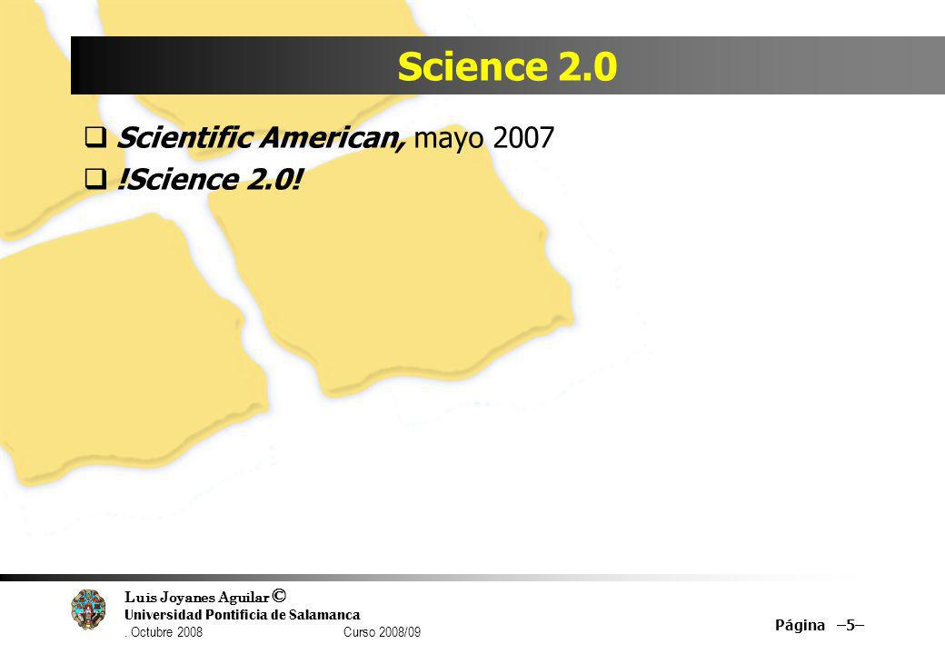 Science 2.0 Scientific American, mayo 2007 !Science 2.0!