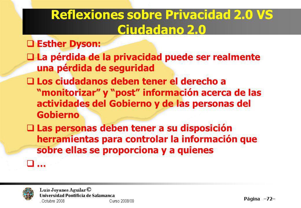 Reflexiones sobre Privacidad 2.0 VS Ciudadano 2.0