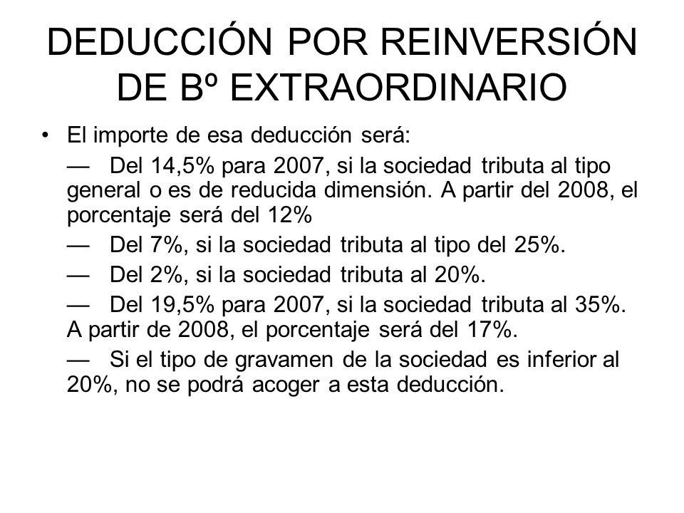 DEDUCCIÓN POR REINVERSIÓN DE Bº EXTRAORDINARIO