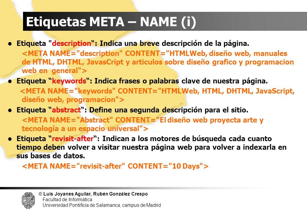 Etiquetas META – NAME (i)