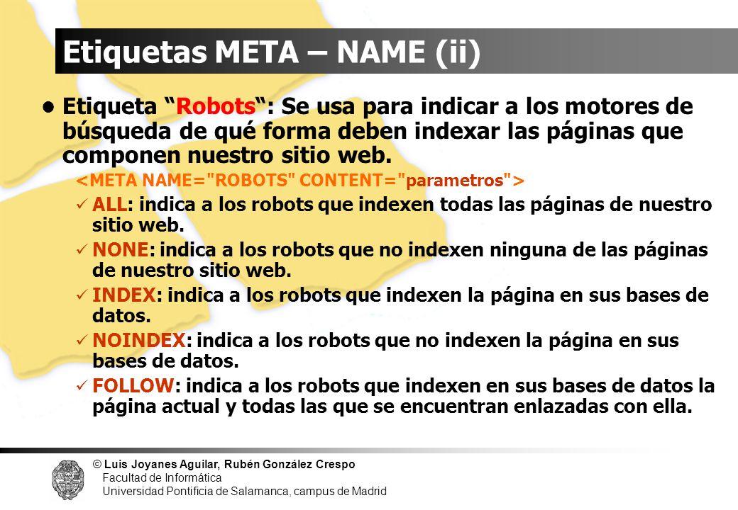 Etiquetas META – NAME (ii)