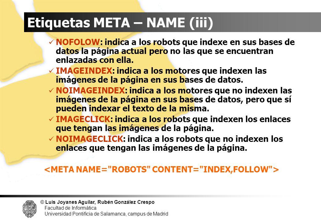Etiquetas META – NAME (iii)