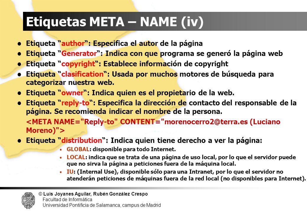 Etiquetas META – NAME (iv)
