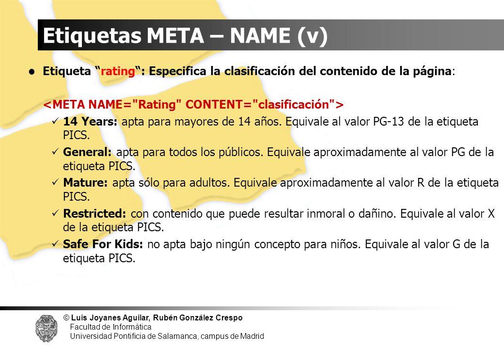 Etiquetas META – NAME (v)