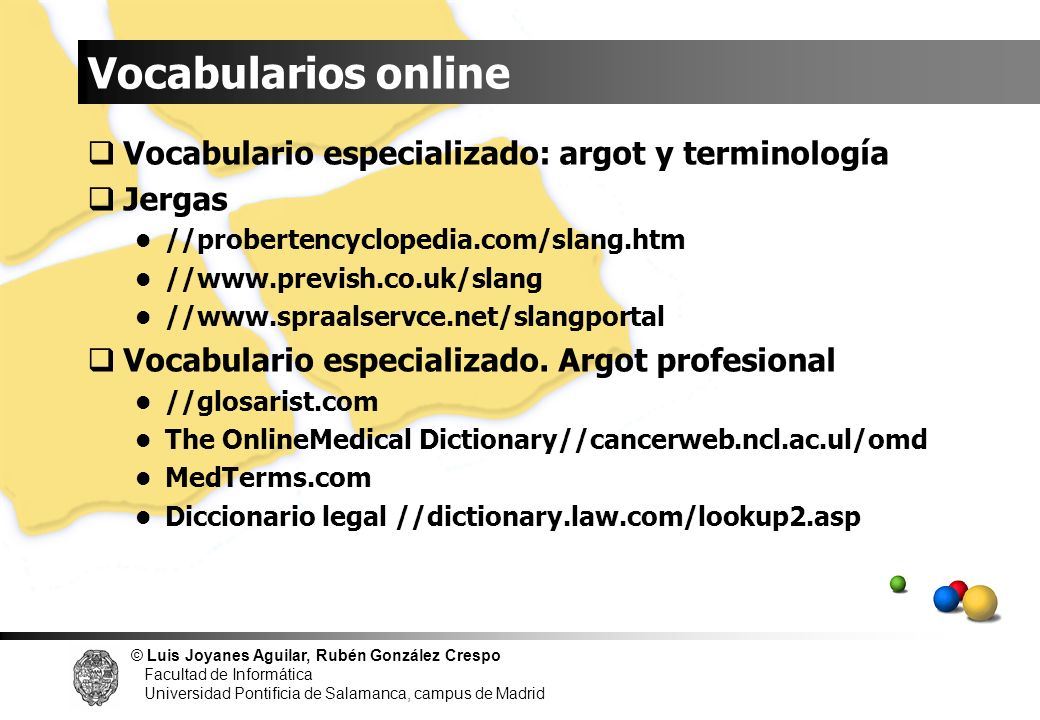 Vocabularios online Vocabulario especializado: argot y terminología