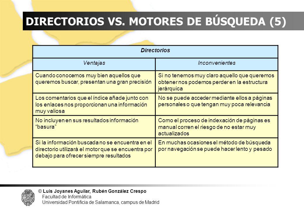 INDICE DIRECTORIOS VS. MOTORES DE BÚSQUEDA (5) Directorios Ventajas