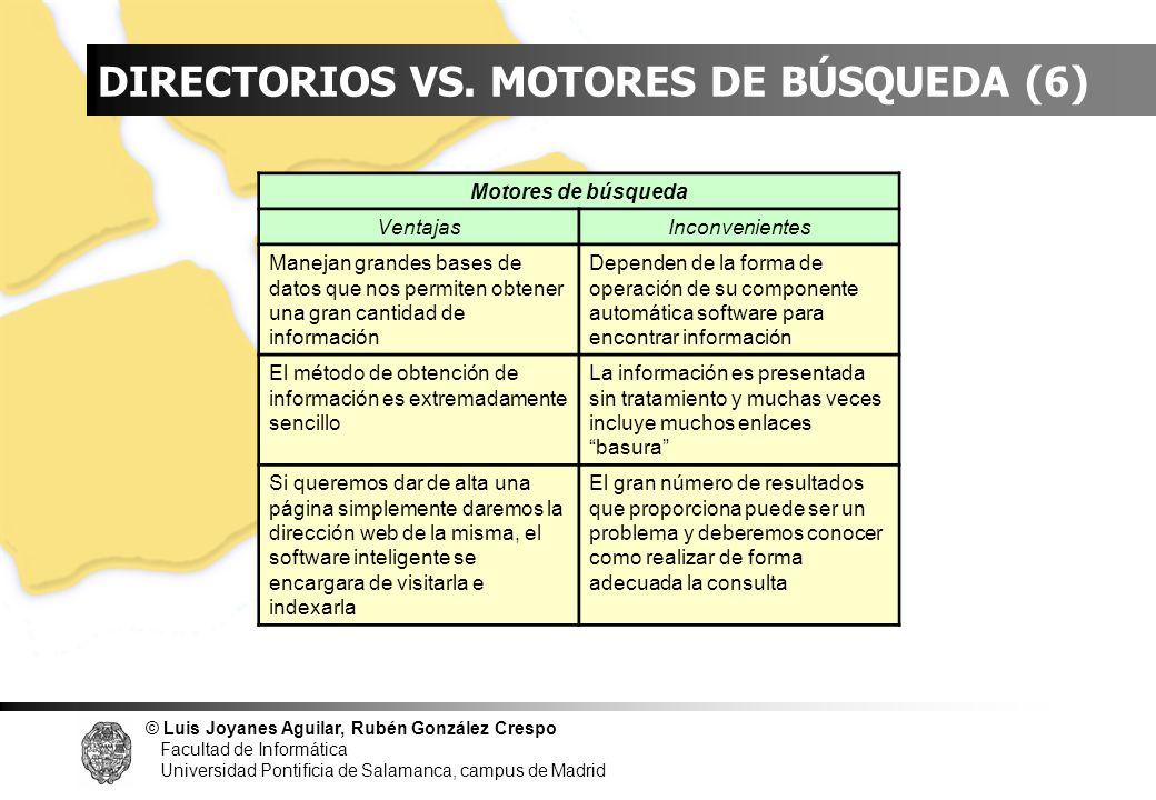 INDICE DIRECTORIOS VS. MOTORES DE BÚSQUEDA (6) Motores de búsqueda