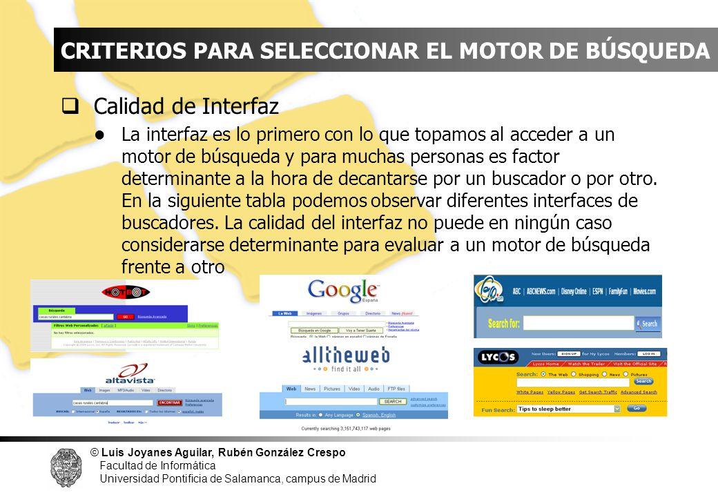 INDICE CRITERIOS PARA SELECCIONAR EL MOTOR DE BÚSQUEDA