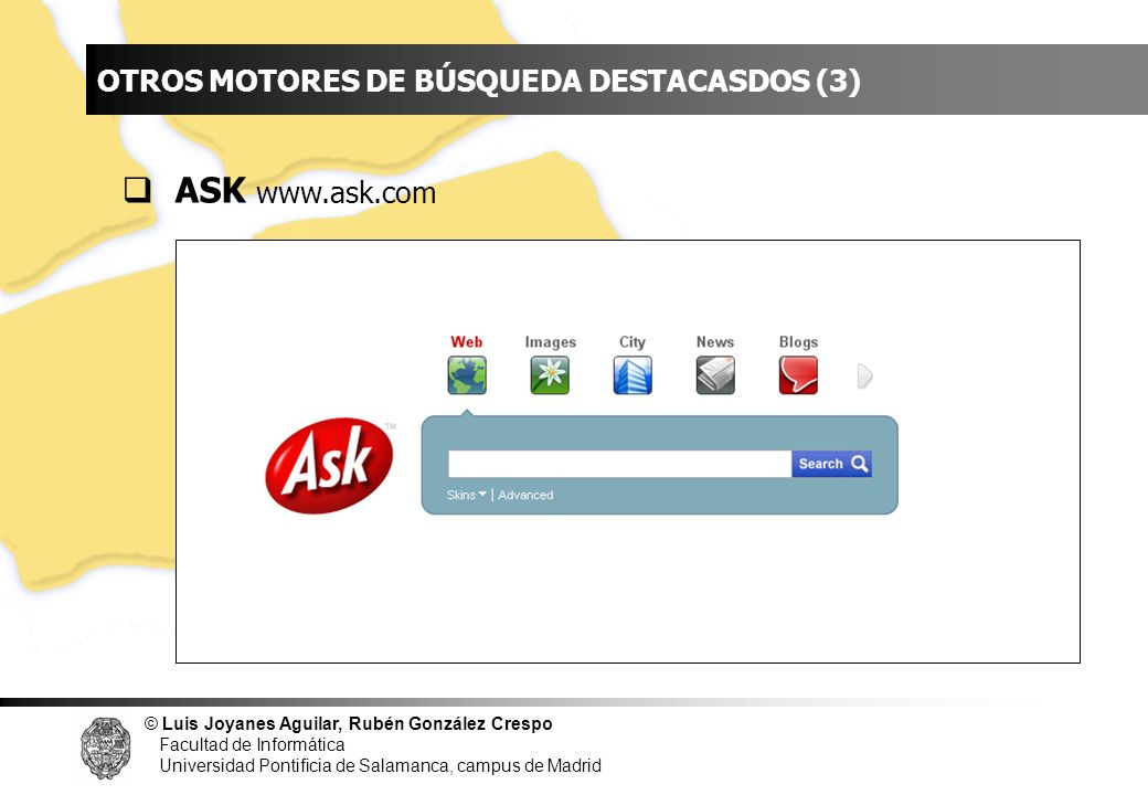 INDICE OTROS MOTORES DE BÚSQUEDA DESTACASDOS (3) ASK www.ask.com