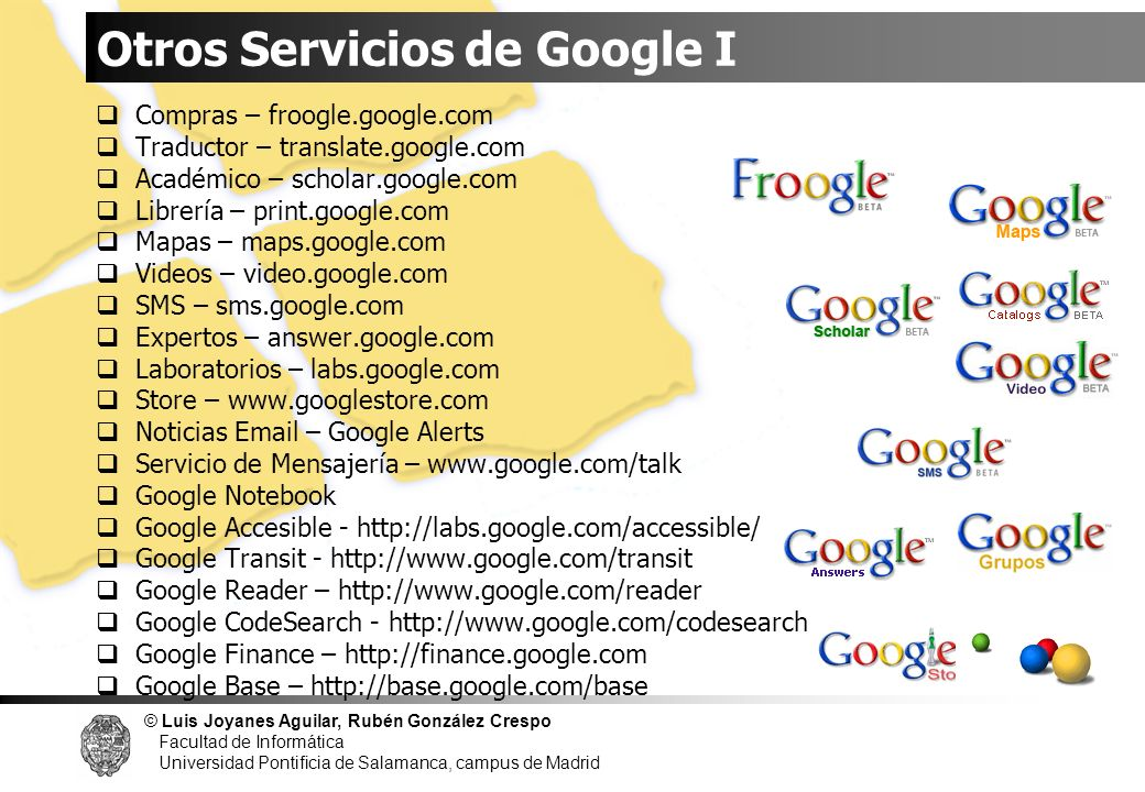 Otros Servicios de Google I