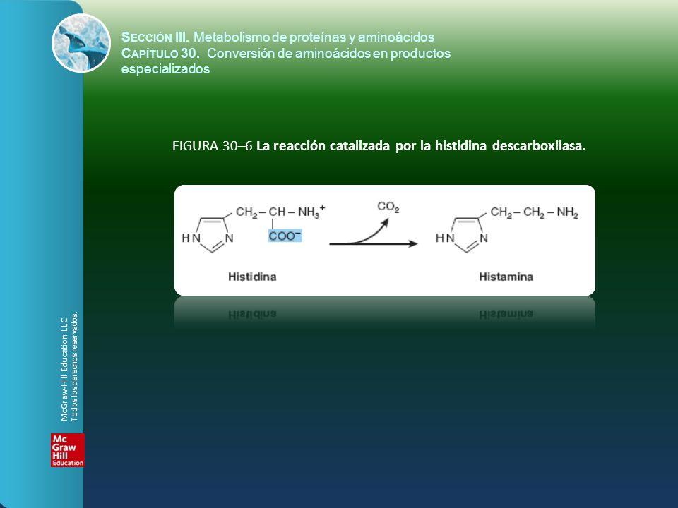 FIGURA 30–6 La reacción catalizada por la histidina descarboxilasa.