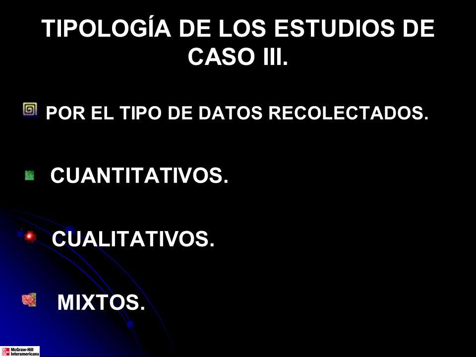 TIPOLOGÍA DE LOS ESTUDIOS DE CASO III.