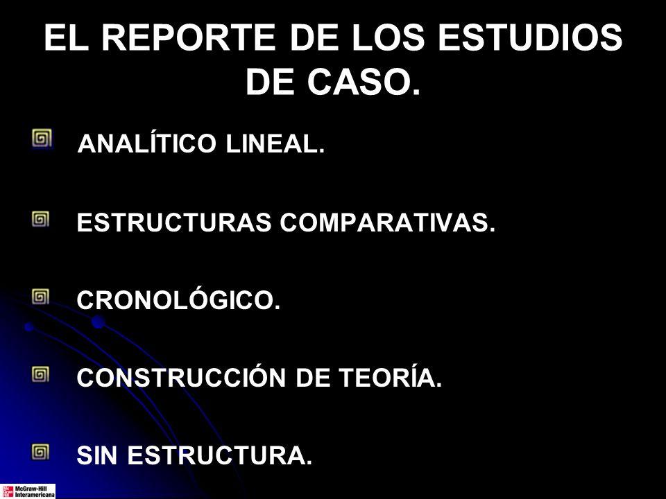 EL REPORTE DE LOS ESTUDIOS DE CASO.