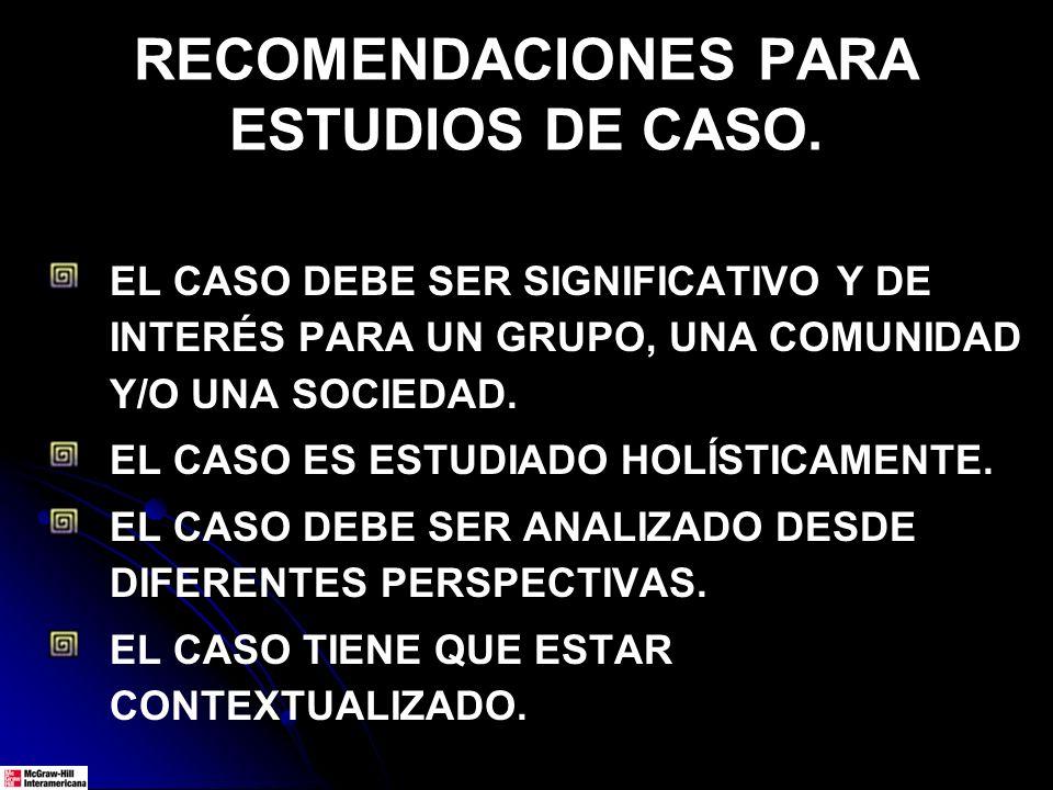 RECOMENDACIONES PARA ESTUDIOS DE CASO.