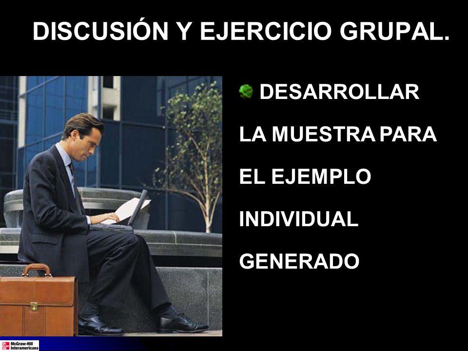 DISCUSIÓN Y EJERCICIO GRUPAL.