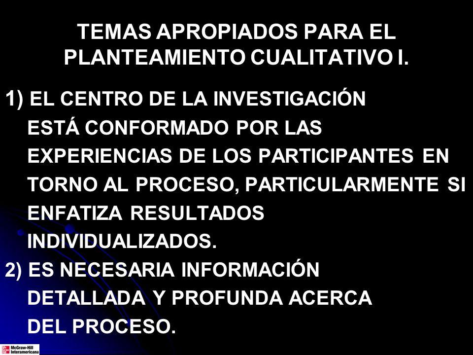 TEMAS APROPIADOS PARA EL PLANTEAMIENTO CUALITATIVO I.